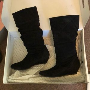 ALDO wedge heel black suede boots